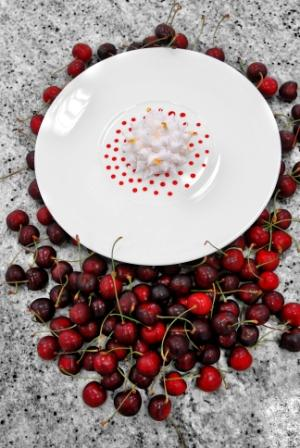 Floating island with cherries after Auguste Escoffier