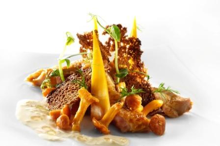 Cuisses de poulet croustillant, chanterelles à la crème d'oignons et au fromage du Västerbotten