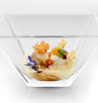 Crabe cuit minute et cabillaud grillé au jus rafraîchi de persil racine