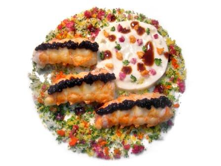 Langoustines rôties à l'orange, chou-fleur chaud-cru au caviar d'Aquitaine