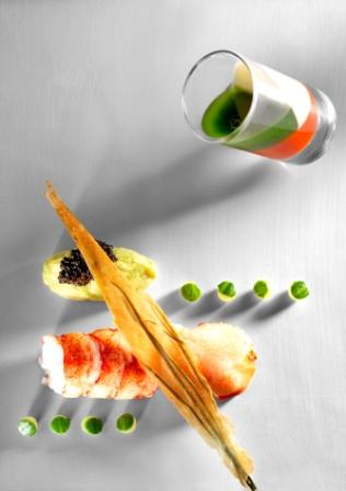 Lobster with avocado confit and caviar. Shot glass with three jellies: lime, tomato and aromatic herbs