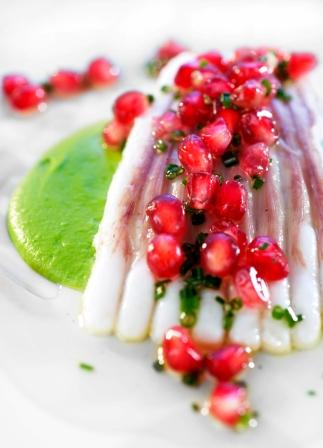 Baked skate wing, creamed broccoli and pomegranate vinaigrette