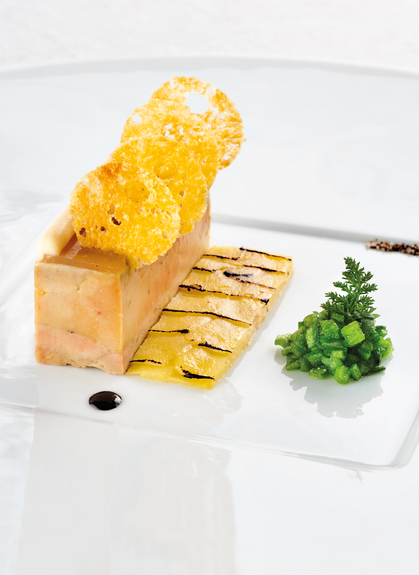 Foie gras de canard cuit au naturel, gelée de coing et ficoïde glaciale