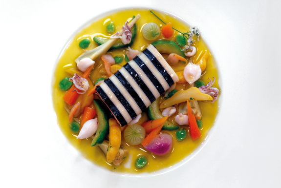 Salmon with hyssop essences and candied vegetables from Maussane