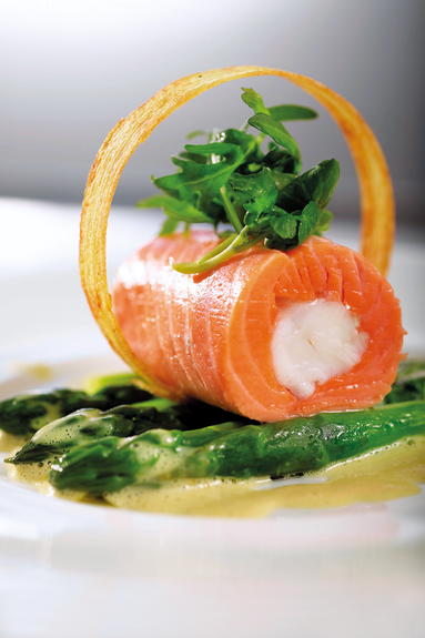 Sea trout rolls with langoustines and asparagus