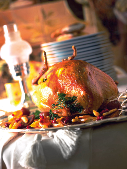 Holiday turkey stuffed with forest delights