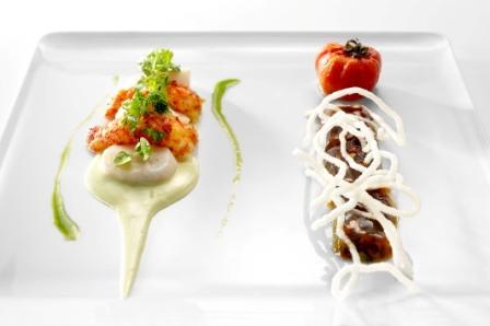 Sashimi de crevettes de Madagascar, Saint-Jacques et gelée de crevettes en lingot